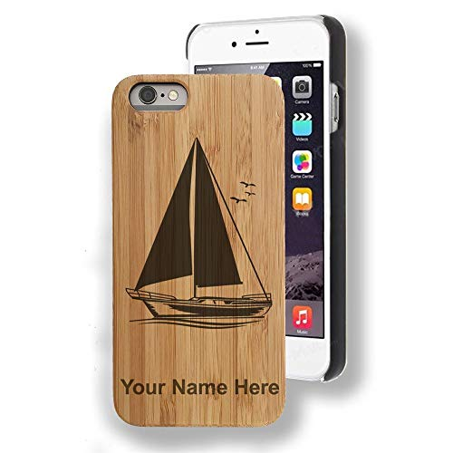 Bamboo case Compatible with iPhone 5/5s & iPhone SE, Sailboat, Personalized Engraving - Boat Veneer
