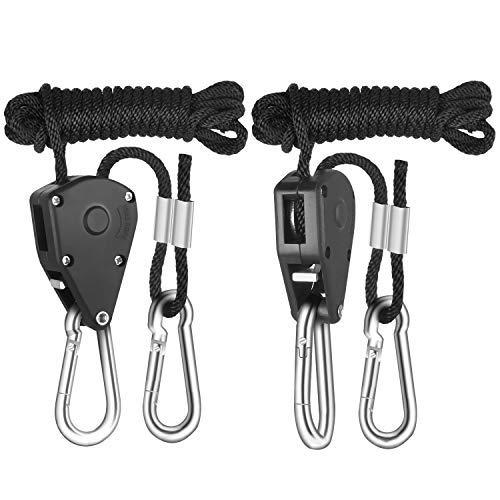 iPower GLROPE Pair of 1/8 Inch Heavy Duty Adjustable Grow Light Rope Clip Hanger w/Improved Metal Internal Gears,8-Feet Long(LONGEST EVER),150lb Capacity,Fully Locking;Tear&Rust Resistant.