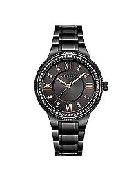 CURREN, Reloj Mujer Análogo Correa Metalica, Diseño Vintage, Moda y Juvenil, Caja Con detalles Brillantes, Resistente Al Agua. (Negro)