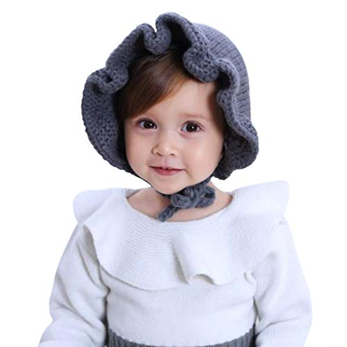 Price comparison product image CC-US Baby Girls Soft Winter Hat Knitted Flower Bonnet Sun Hat with Chin Strap