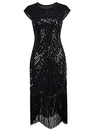 Vijiv 1920's Long Prom Dresses Beaded Sequin Art Nouveau