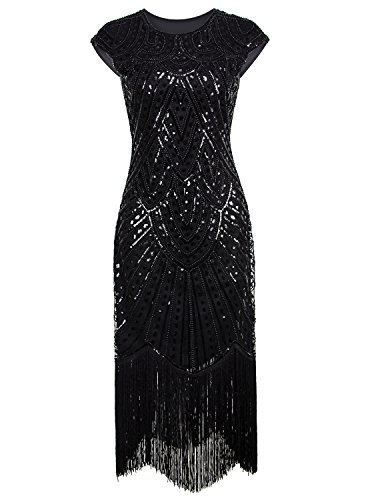 Vijiv 1920's Long Prom Dresses Beaded Sequin Art Nouveau Deco Flapper Dress, Pure Black, XX-Large]()