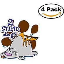 2 Stupid dogs 4 Stickers 4x4 Cartoon Car Bumper Window Sticker Decal_1