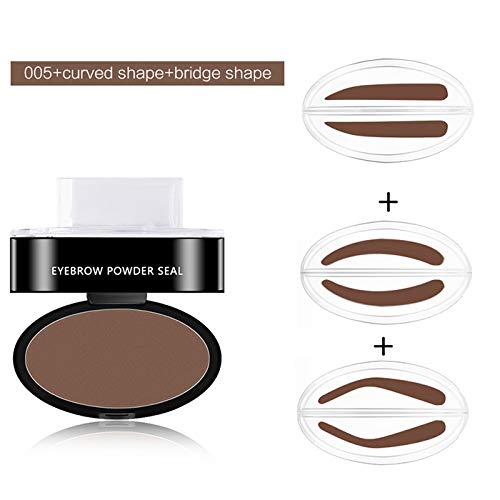 (3 Colors Brown Shadow Waterproof Stamp Brow Stamper Eyebrows Powder Palette + 2 Pair Eyebrow Seal)