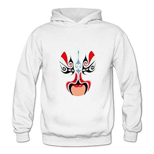 Mcczox Chinese drama mask diy fashion Women's Hoodie Sweatshirt White ()