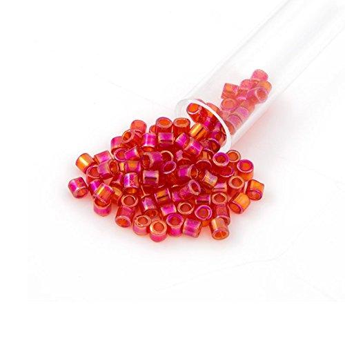 Miyuki Delica Seed Bead 8/0 Transparent Cherry Red AB