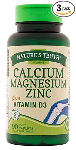 Natures Truth Calcium, Magnesium, Zinc Plus Vitamin D3 Supplements, 90 Count (Pack