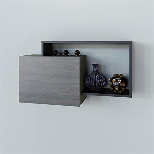 Nexera 112645 Damask Wall Shelf, Bark Grey/Black