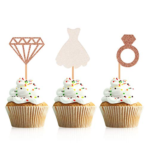(Donoter 48 Pcs Glitter Diamond Ring Wedding Dress Cupcake Topper Picks for Bridal Shower Engagement Party Decorations)