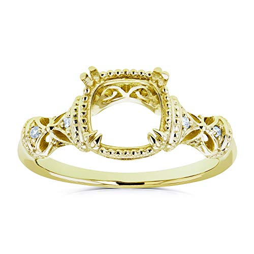 Diamond Accented Semi Mount Vintage Engagement Ring, 14k Yellow Gold (No Center Stone), ()