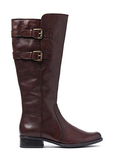 Boots Buckle Brown Dark Caprice Leather Tall Nappa Women's qtawz4I