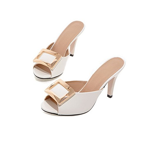 White Cone BalaMasa Shape Imitated Leather Womens Sandals Peep Heel Toe Fashion ZAqHpvOfAR