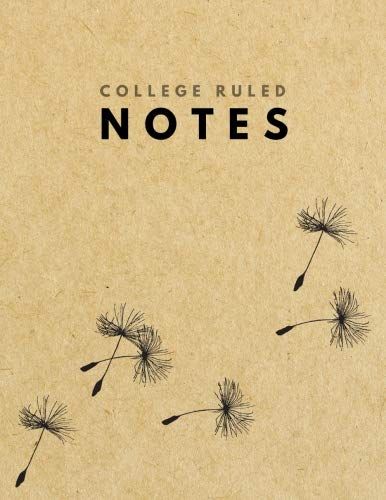 College Ruled Notes: Dandelion Blowball Brown Paper Soft Cover | Large (8.5 x 11 inches) Letter Size | 120 pages | Lined with Margins (Narrow) Retro Notebook