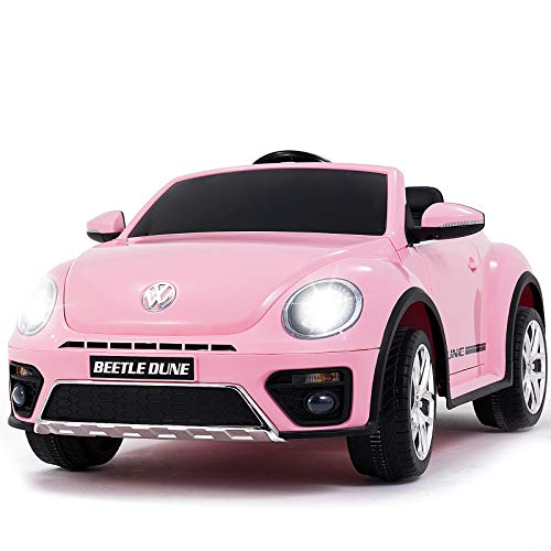 (Uenjoy Volkswagen Beetle 12V Kids Electric Ride on Cars Battery Powered Motorized Vehicles, Remote Control, Music, Bluetooth, Suspension, Double Door, Pink)