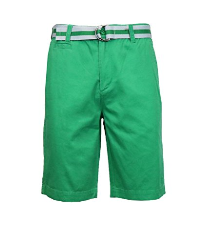 Fine Stripe Short (Galaxy by Harvic Men's 100% Fine Cotton Twill Flat Front Belted Shorts with Contrast Stripe - Virdis Green, Size 34)