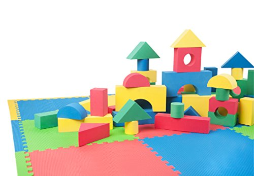 16-Piece-EVA-Foam-Puzzle-Childrens-Play-Exercise-Mat-with-104-Piece-Soft-Building-Block-Set-NON-TOXIC-Multicolored-Safety-Floor-Mat