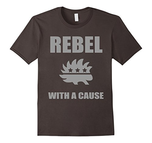 Men's Rebel With A Cause T-Shirt | Libertarian Party Porcupine Large Asphalt - Cause Rebel T-shirt