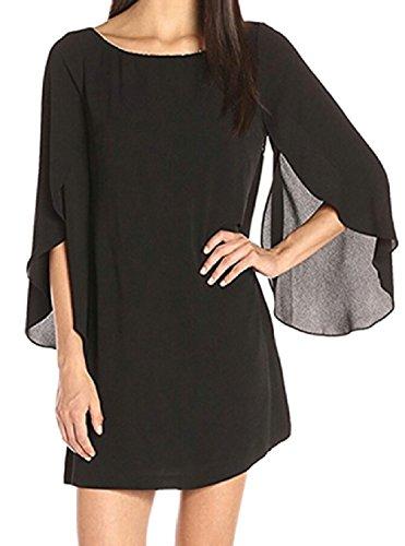 Party Women's Round Neck Dress Petal Sleeve Jaycargogo Black Sexy Chiffon wHBg0g