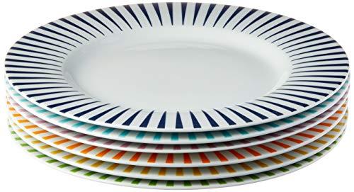 Estojo com 6 pratos rasos. Modelo redondo aba larga. Decoração mix sol. Fabricado pela porcelana schmidt.