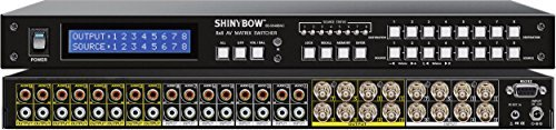 Shinybow 8x8 (8:8) Composite BNC + Stereo/Analog Audio Video Matrix Switcher with Volume Control - Switcher Video Composite Matrix