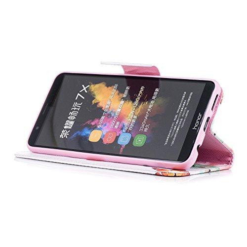 Funda Para Honor 7X, Ecoway PU Pintado Carcasa Funda para Funda Ranura para tarjeta incorporada Cartera Flip Case Cover para Huawei Honor 7X- style 8 style 4
