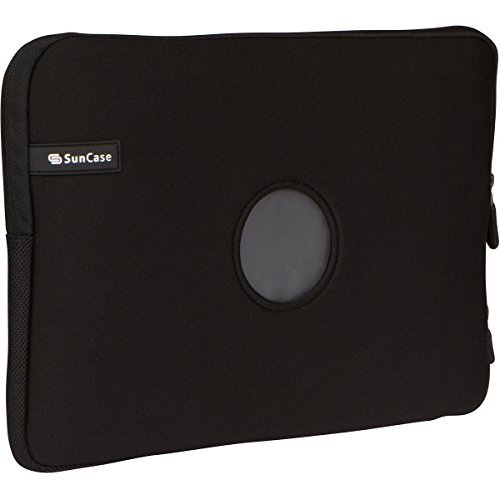 SunCase 13-Inch Neoprene Laptop Sleeve for MacBook Pro and MacBook Air Retina with Charger Pocket, Charging Access Zipper, Soft Plush, and Logo Cutout Hole (Black) ()
