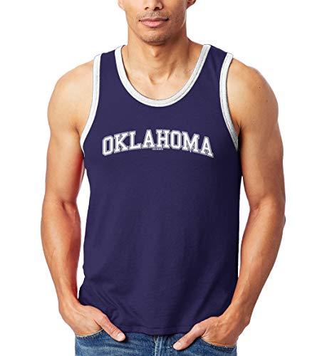 Oklahoma - State School University Sports Unisex 2-Tone Tank Top (Navy/White, X-Large)