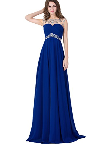 Cap Sleeve Backless Long Evening Dress 2016 Prom Gown,Sapphire Blue,16