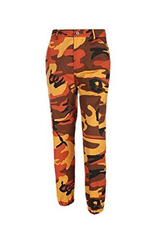 Lunghi Sevozimda Pantaloncini Normali Orange Cargo Donne Mimetizzazione Pantaloni Sport Pantaloni Le Una CwxC4nv6q