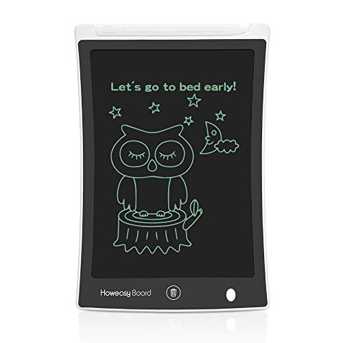 (Howeasy Board LCD Writing Tablet, 8.5 Inch Learning Educational Toys Electronic Drawing and Writing Board for Kids & Adults, Handwriting Paper Doodle Pad for School and Office (White))