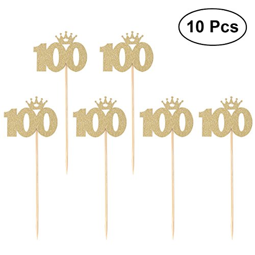 BESTOYARD 100 Gold Cake Toppers baby 100 days celebration 100th Birthday or Anniversary Party Decoration Party Supplies 10pcs -