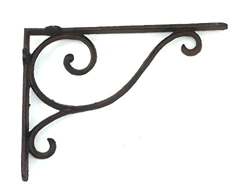 Aunt Chris' Products - Wrought Iron - Shelf Bracket With Simple Thin Victorian Scroll Design - All-Purpose Hanger - Dark Rustic Bronze Primitive Design - Indoor or Outdoor Use