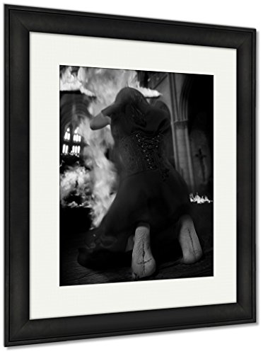 Ashley Framed Prints Salem Witch Burning Church On Halloween Against Inquisition, Wall Art Home Decoration, Black/White, 35x30 (frame size), Black Frame, AG6085795 by Ashley Framed Prints