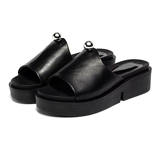 Zapatillas Verano Sandalias Cómodo suela de verano con suela gruesa moda playa verano vestir exteriores Color/tamaño opcional (Color : Negro, Tamaño : EU38/UK5.5/CN38) Negro