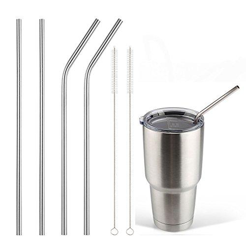Accmor 18/8 Stainless Steel Straws, Reusable Metal Drinking Straws for 30 20 Oz Yeti Tumbler Rambler Cups (4, FBA) (Stainless Metal)