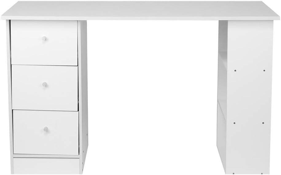 Cikonielf tavolo da lavoro in PC in legno colore: bianco con 3 cassetti mobile per ufficio camera Scrivania per computer