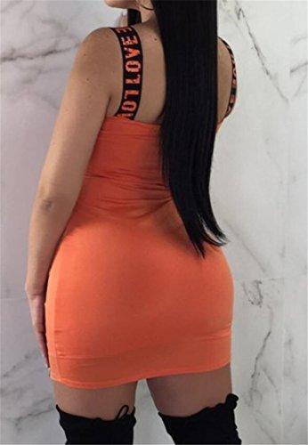 Bodycon Arancione Senza Donne Alla Del Vestito Domple Moda Delle Delle Backless Mini Club Con Stampa Maniche Lettere YqrYBz