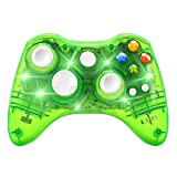 xbox 360 led controller - Wireless Game Controller for Microsoft Xbox 360 Console/PC Windows7/8/10-Trasparent Colorfull LED Lights (Green)