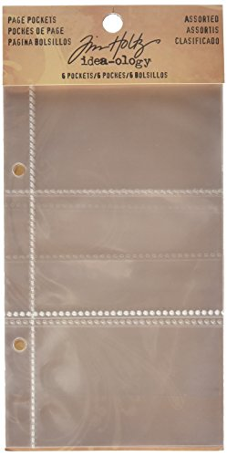 (Divided Page Pockets for Scrapbooking by Tim Holtz Idea-ology, 4 x 7 Inches, 6 Pockets, Clear, TH93106)