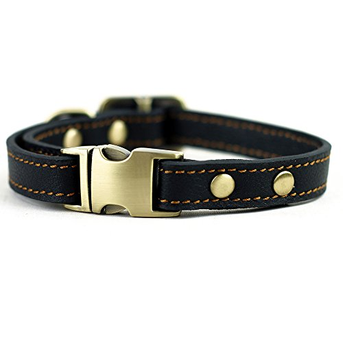 CHEDE Luxury Real Leather Dog Collar- Handmade For Small Dog Breeds With The Finest Genuine Leather-Best Quality Collar That Is Stylish ,Soft Strong And Comfortable-Black Dog Collar