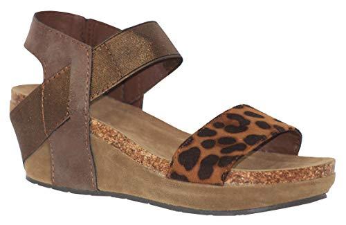 (MVE Shoes Women's Open Toe Strappy Wedge - Summer Vegan Leather Platform Sandal - Low Heeled Sandals, Chantal-2 BRW/BGE Comb 8.5)