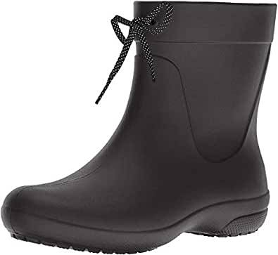 Crocs Women's Freesail Shorty Rain Boot, Black, W5