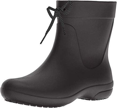 crocs Women's Freesail Shorty Rainboot, Black, 8 M US (Garden Womens Shoes)