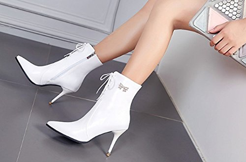High Heels Autumn and Winter Female Boots Slim High Heel Duantong Martin Boots White p7Ci4gB
