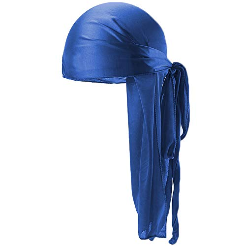- Ztl Unisex Silky Durag Long-Tail Du-Rag Headwrap with Wide Straps for 360 Waves Royal Blue