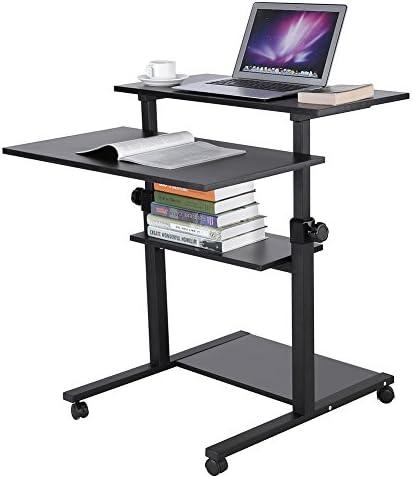 木製モバイルStandingコンピュータ作業駅デスク高さ調節可能RollingプレゼンテーションカートOfficeホーム使用 ブラック