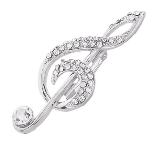 Funbase 2Pcs Crystal Rhinestone Silver Broach Brooch Pin Musical Note Party Decoration