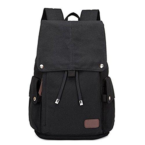 Bakp uomini e donne spalle zaino Business bag borsa di tela casual di viaggio semplice, unisex, Nero