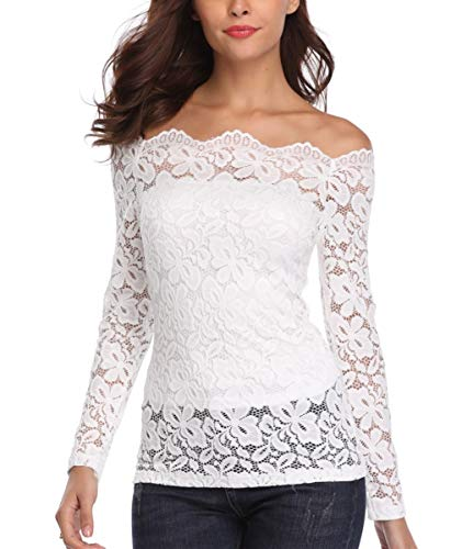 (Dilgul Lace Tops for Women Strapless Off The Shoulder Sexy Shirts Long Sleeve Blouses White)