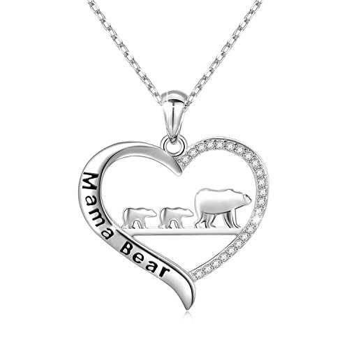 ENSIANTH Mama Bear Necklace Heart Pendant Gift for Mother's Day (Necklace-SC2) ()